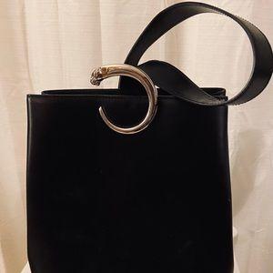 Cartier logo panther shoulder bag leather black